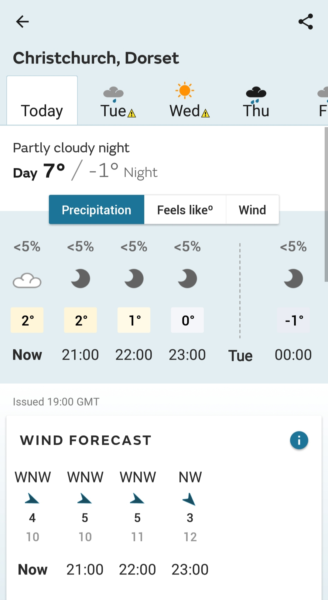 Met Office app screenshot two of three