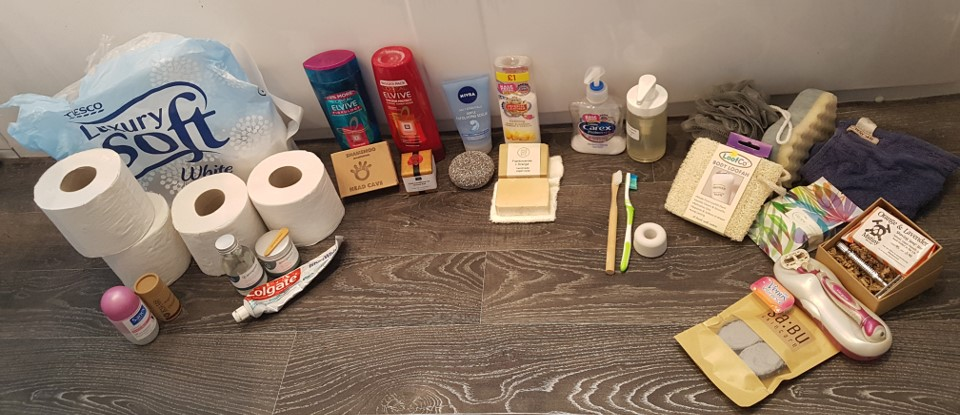 Picture of plastic items and their non-plastic alternatives for the bathroom