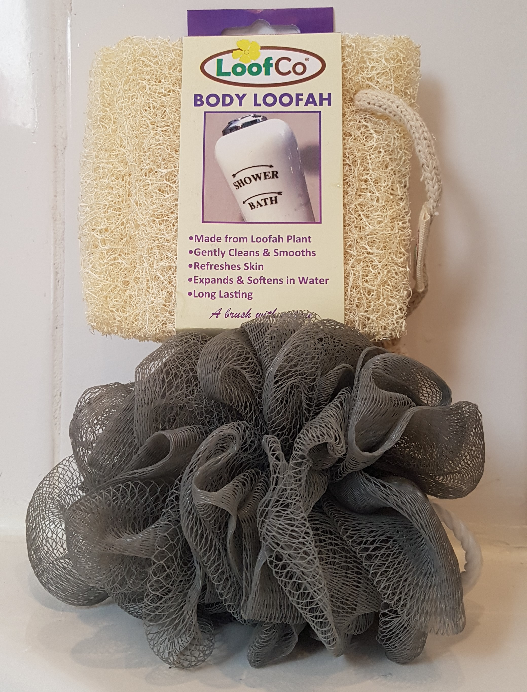 Picture of a body puff and replacement loofah