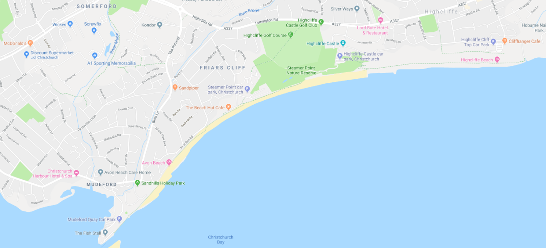 Map showing the beaches in Mudeford